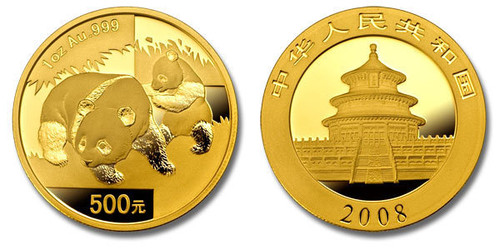 China 2008 Panda 1 oz Gold BU Coin