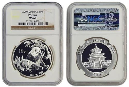 China 2007 Panda 1 oz Silver Coin - NGC MS-69