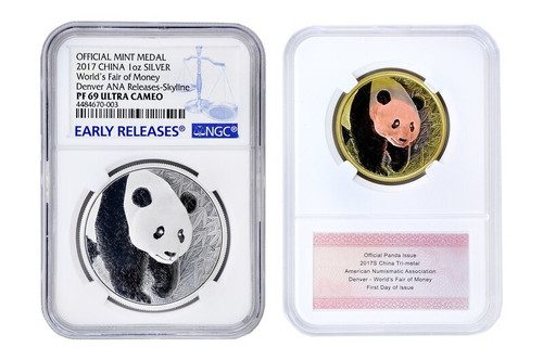 China 2017 Panda ANA Denver - Worlds Fair of Money - 30 grams Silver Commemorative - NGC PF-69 Ultra Cameo Early Release and Tri-Metal 2-pc Set