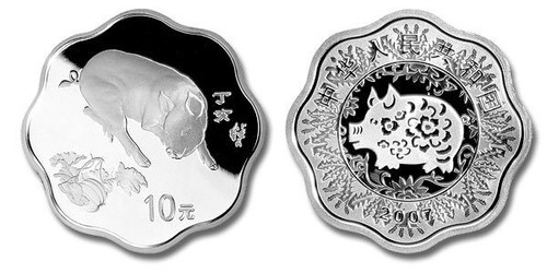 China 2007 Year of the Pig 1 oz Silver Proof Coin Flower Shaped