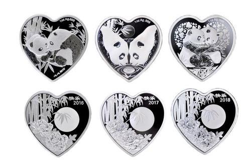 China 2016-2018 Panda 1 oz Silver Commemorative 3-pc Set - Heart Shaped