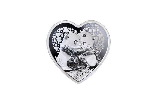 China 2018 Panda 1 oz Silver Commemorative - Heart Shaped