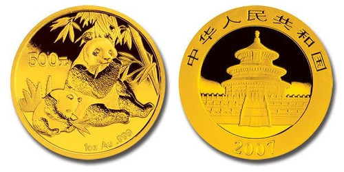 China 2007 Panda 1 oz Gold BU Coin