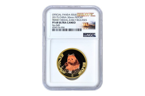 China 2017 Panda Singapore International Coin Fair - Tri-Metal Commemorative - NGC PF-68 Ultra Cameo, Early Release Label - Piedfort Special Edition