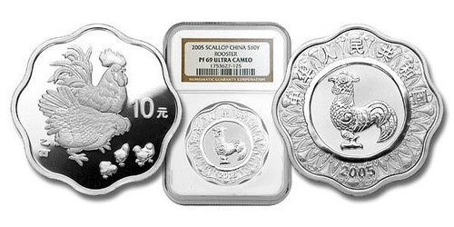 China 2005 Year of the Rooster 1 oz Silver Coin - Flower - NGC PF-69 Ultra Cameo