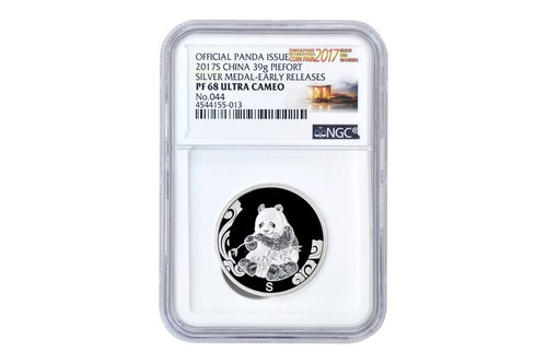 China 2017 Panda Singapore International Coin Fair - 39 gram Silver Commemorative - NGC PF-68 Ultra Cameo, Early Release Label - Piedfort Special Edition