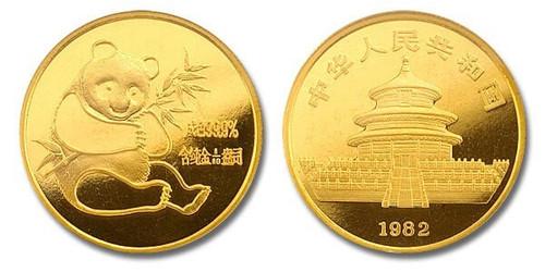 China 1982 Panda 1/10 oz Gold BU