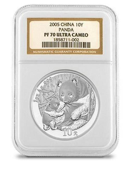 China 2005 Panda 1 oz Silver Coin - NGC MS-70