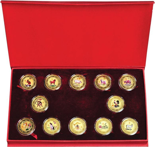 China Lunar-Zodiac Gold Plated Complete 12-Piece Collection Reduced Price