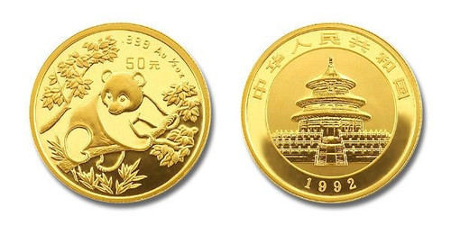 China 1992 Panda 1/10 oz Gold BU Coin
