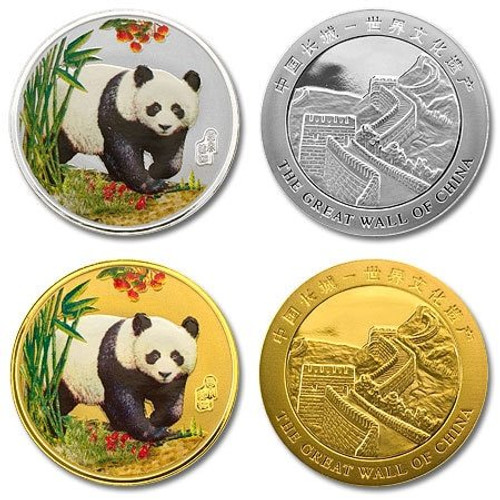 China Panda Colorized Gold and Silver Plated 2-pc Set