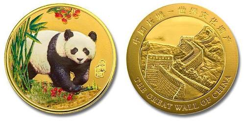 China Panda Colorized Gold Plated