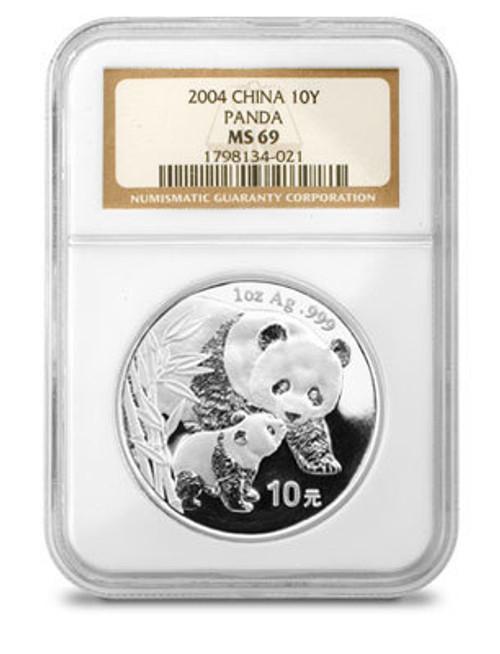China 2004 Panda 1 oz Silver Coin - NGC MS-69