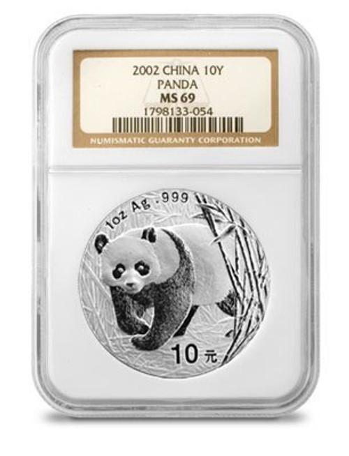 China 2002 Panda 1 oz Silver Coin - NGC MS-69