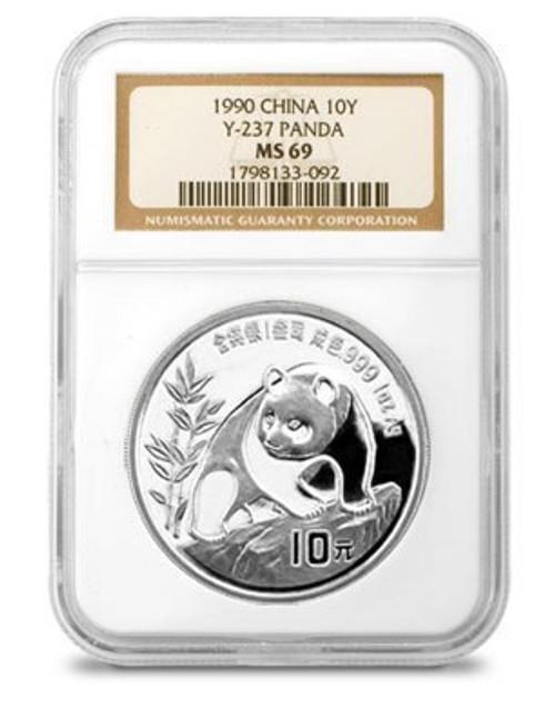 China 1990 Panda 1 oz Silver Coin - NGC MS-69