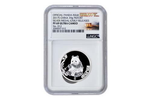 China 2017 Panda Singapore International Coin Fair - 39 gram Silver Commemorative - NGC PF-69 Early Release - Piedfort Special Edition