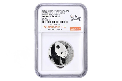 China 2017 Panda ANA Denver - Worlds Fair of Money - 39 grams Silver Proof Commemorative - NGC PF-69 Ultra Cameo Early Release - Piedfort Special Edition