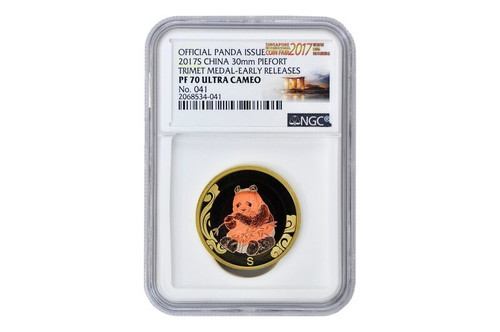 China 2017 Panda Singapore International Coin Fair - Tri-Metal Commemorative - NGC PF-70 Ultra Cameo, Early Release Label - Piedfort Special Edition