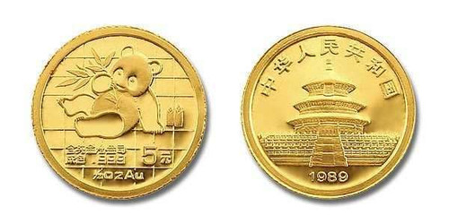 China 1989 Panda 1/20 oz Gold BU Coin - Large Date