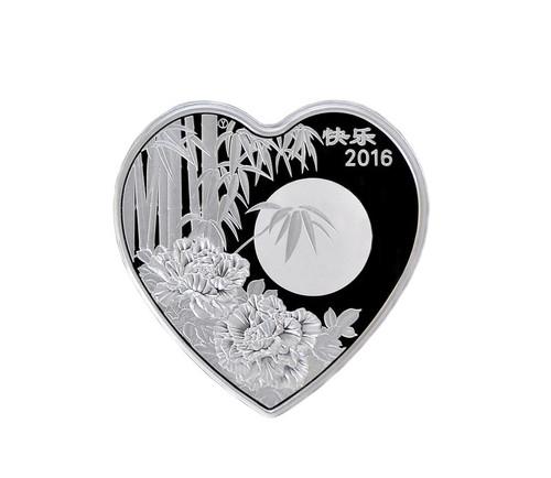 China 2016 Panda 1 oz Silver Commemorative - Heart Shaped