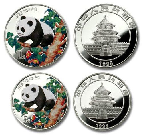 China 1998 Panda 1 oz and 1/2 oz Colorized Silver Proof 2-coin Set