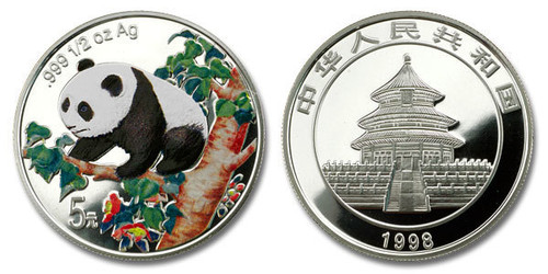 China 1998 Panda 1/2 oz Silver Colorized Proof Coin