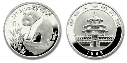 China 1993 Panda 1 oz Silver BU Coin