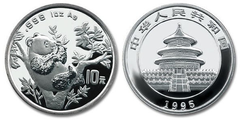 China 1995 Panda 1 oz Silver BU Coin