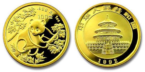 China 1992 Panda 1 oz Gold BU Coin
