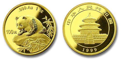 China 1999 Panda 1 oz Gold BU Coin