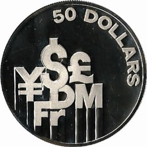 Singapore 1981 International Financial Center 50 Dollars 1 oz Silver Proof Coin