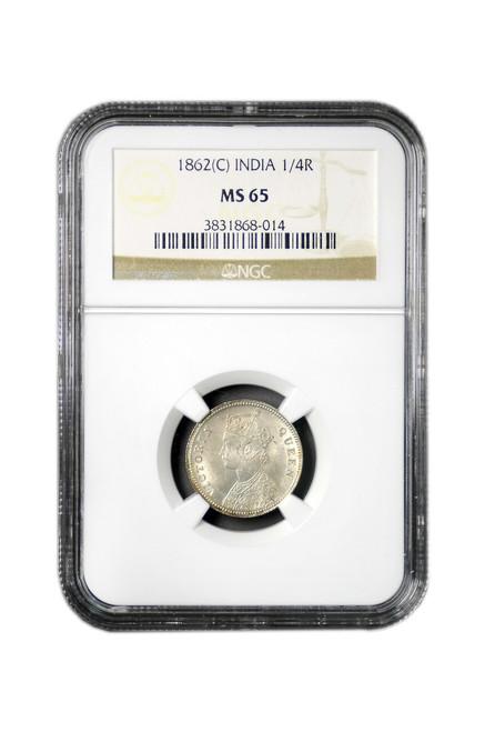 British-India 1862 C 1862 Silver 1/4 Rupee NGC Graded MS-65