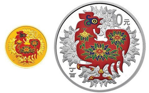 China 2017 Year of the Rooster 3 gram Gold and 30 gram Silver Proof 2-Coin Set - Colorized