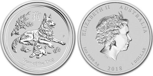 Australia 2018 Year of the Dog 1 oz Silver BU Coin - Series II