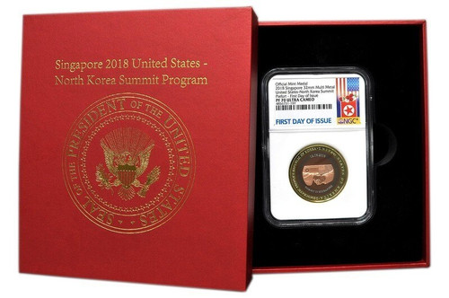 Singapore 2018 United States - North Korea Summit Commemorative - Kim Jong Un and Donald Trump - Quad-metal Piedfort Proof - NGC PF-70 Ultra Cameo - First Day of Issue