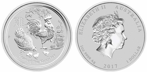 Australia 2017 Year of the Rooster 1 oz Silver BU Coin - Series II