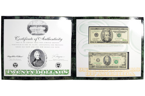 USA 1995 and 1996 Series - New $20 Banknote 2-pc Set