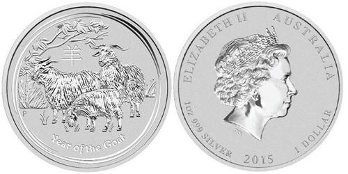 Australia 2015 Year of the Goat 1 oz Silver BU Coin - Series II