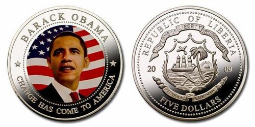 Liberia 2009 Barack Obama dollar5 Dollar Coin Layered with .999 Silver