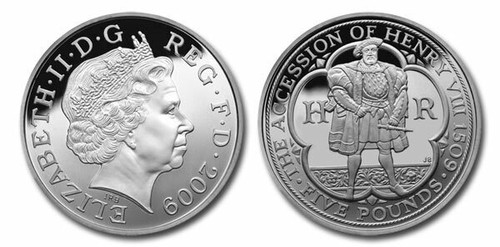 Great Britain 2009 King Henry VIII 5-Pound Copper-Nickel Coin