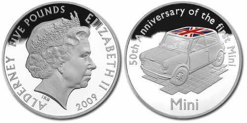 Alderney British Crown dependency 2009 50th Anni of the Mini-Cooper 5 Pound Silver Coin