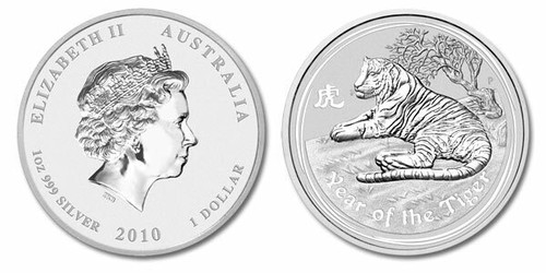 Australia 2010 Year of the Tiger 1 oz Silver BU Coin - Series II