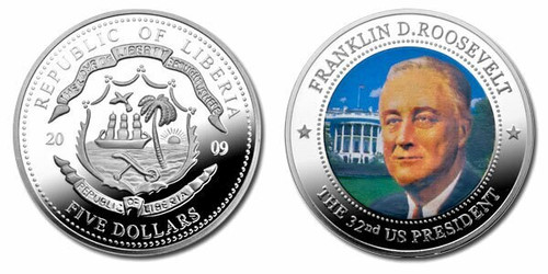 Liberia 2009 Franklin Roosevelt dollar5 Dollar Coin Layered with .999 Silver