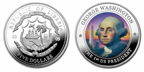 Liberia 2009 George Washington dollar5 Dollar Coin Layered with .999 Silver