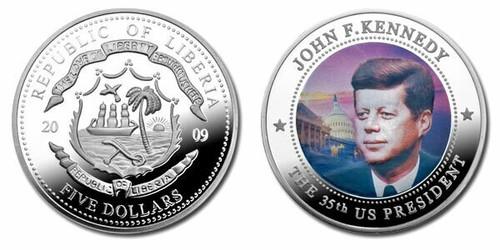 Liberia 2009 John Kennedy dollar5 Dollar Coin Layered with .999 Silver
