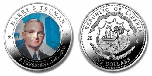 Liberia 2010 Presidential Series - 033rd President Harry S Truman Five Dollar dollar5 Coin Layered with .999 Silver