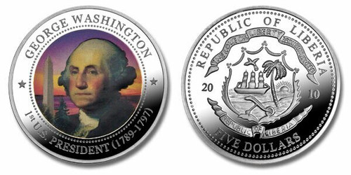 Liberia 2010 Presidential Series - 001st President George Washington Five Dollar dollar5 Coin Layered with .999 Silver