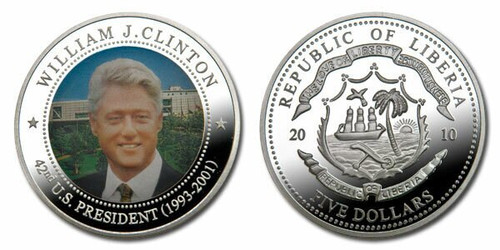 Liberia 2010 Presidential Series - 042nd President William Clinton dollar5 Dollar Coin Layered with .999 Silver