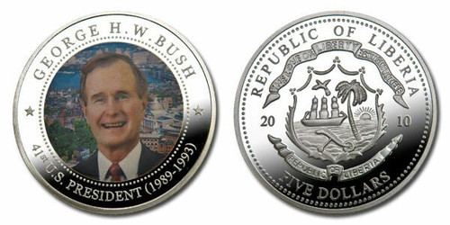 Liberia 2010 Presidential Series - 041st President George HW Bush Five Dollar dollar5 Coin Layered with .999 Silver