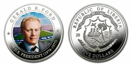 Liberia 2010 Presidential Series - 038th President Gerald Ford Five Dollar dollar5 Coin Layered with .999 Silver